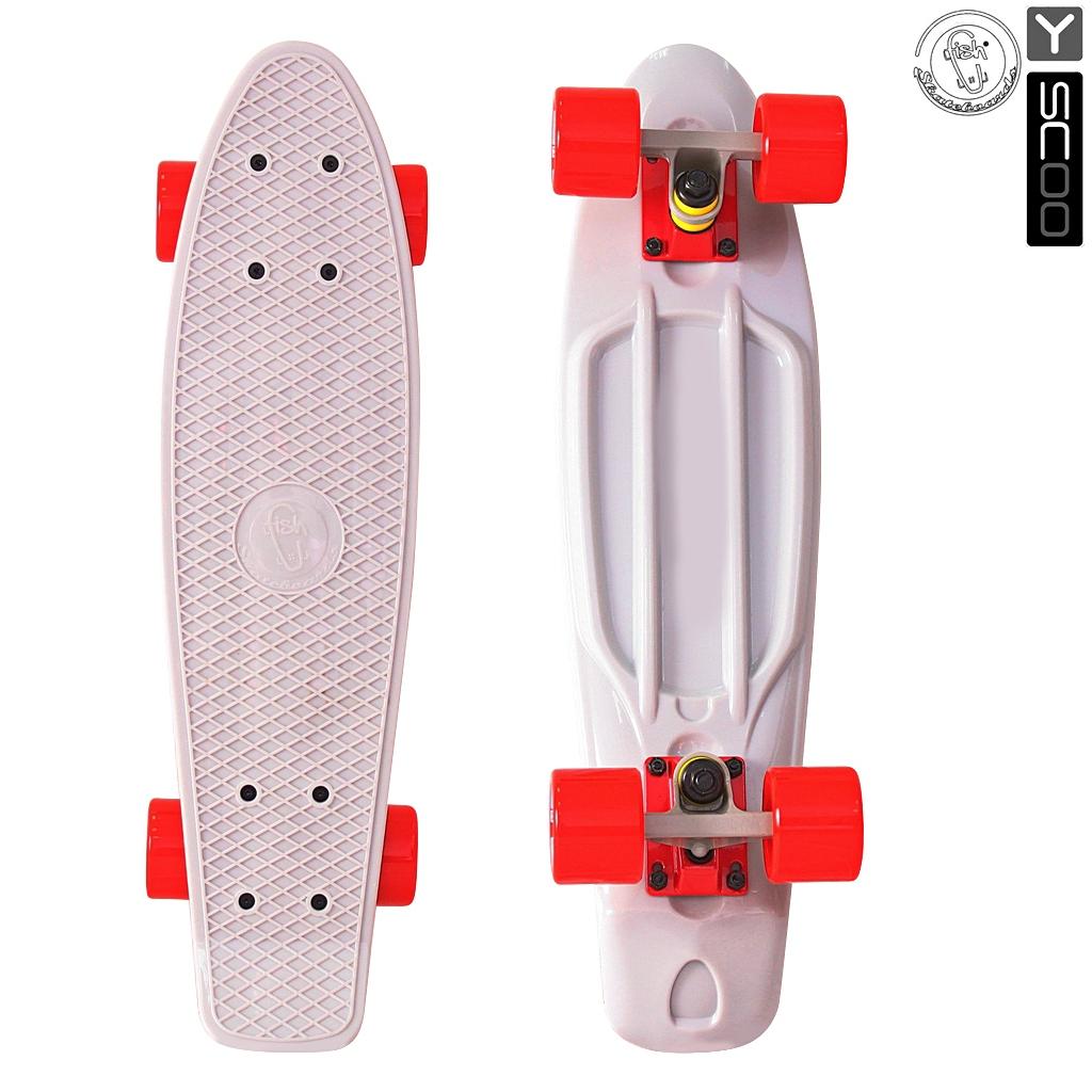 Скейтборд виниловый Y-Scoo Fishskateboard 22 401-G с сумкой, серо-красныйДетские скейтборды<br>Скейтборд виниловый Y-Scoo Fishskateboard 22 401-G с сумкой, серо-красный<br>