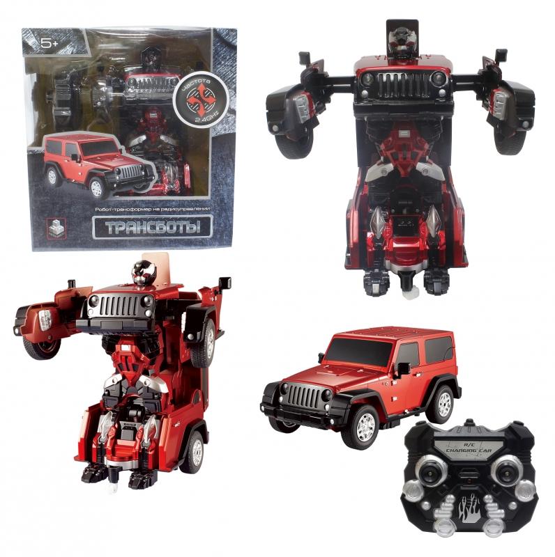 Купить Радиоуправляемый робот-трансформер - Трансботы – Джип на аккумуляторе, красный, 2, 4 GHz, свет, звук, 1TOY