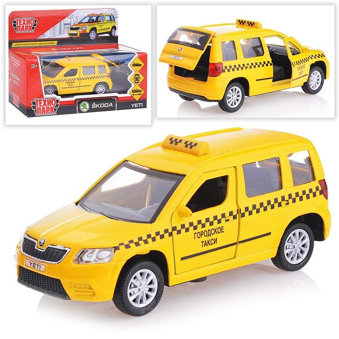 Купить Машина металлическая инерционная Skoda Yeti Такси, открываются двери и багажник, 12 см, Технопарк