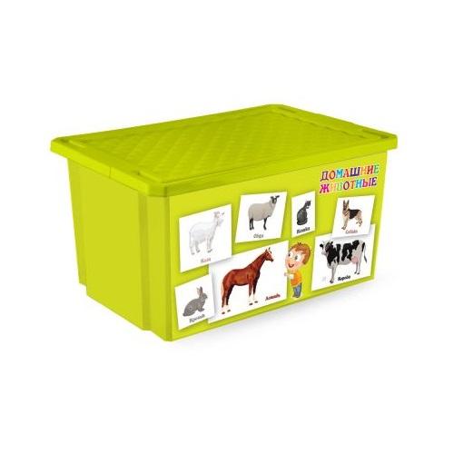 Ящик для игрушек X-Box Обучайка - Животные, салатовыйКорзины для игрушек<br>Ящик для игрушек X-Box Обучайка - Животные, салатовый<br>