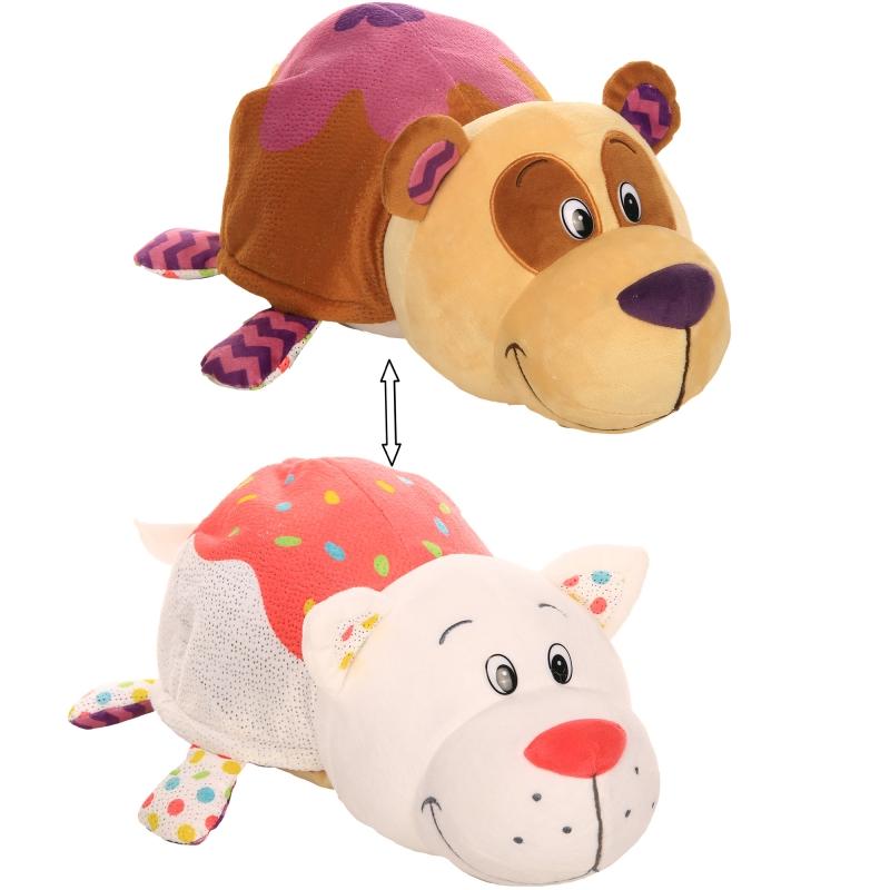 Купить Плюшевая игрушка Вывернушка Ням-Ням 2 в 1 – Панда с ароматом черничных оладьев-Кошечка с ароматом ванильного пирожного, 40 см, 1TOY