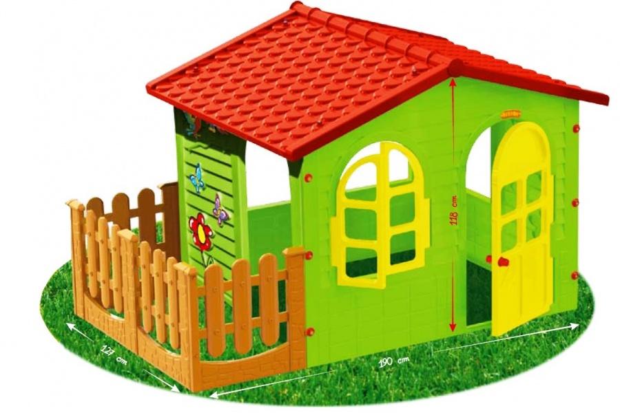 Детский садовый игровой домик с заборомПластиковые домики для дачи<br>Детский садовый игровой домик с забором<br>