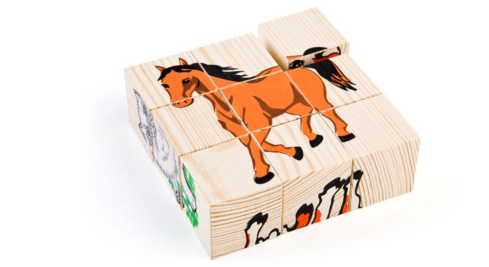 Набор из 9-и кубиков - Домашние животныеКубики и конструкторы<br>Набор из 9-и кубиков - Домашние животные<br>