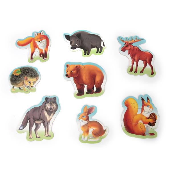 картинка Макси-пазлы - Лесные животные, 8 развивающих картинок от магазина Bebikam.ru