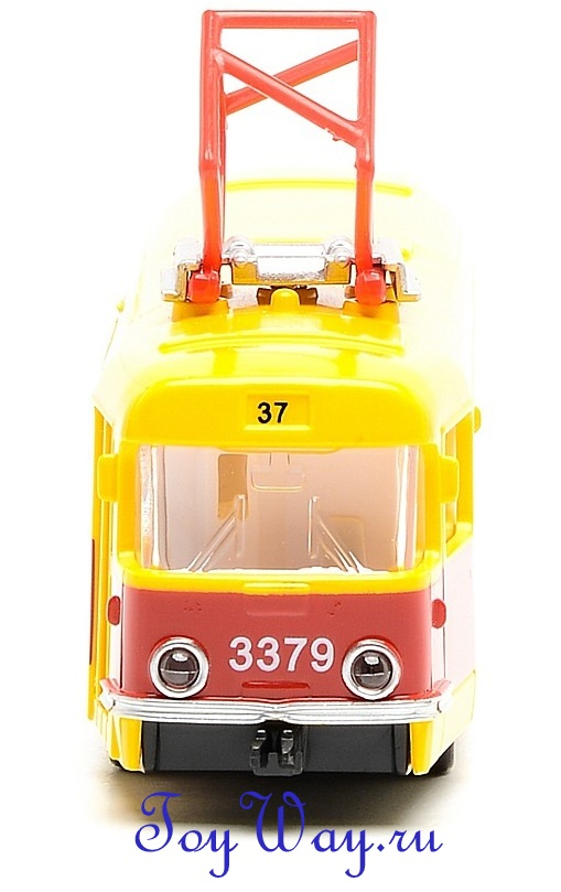 Трамвай Технопарк металлический инерционный, масштаб 1:43, свет+звук, открываются двериАвтобусы, трамваи<br>Трамвай Технопарк металлический инерционный, масштаб 1:43, свет+звук, открываются двери<br>
