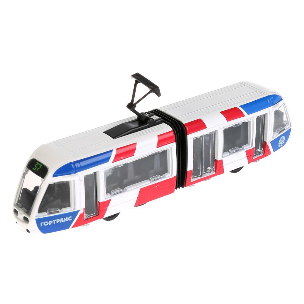 Купить Трамвай новый с гармошкой, 19 см, открываются двери, инерционный механизм, Технопарк
