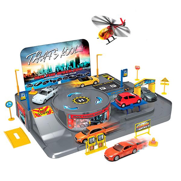 Купить Игровой набор - Гараж, с 3 машинками и вертолетом, Welly