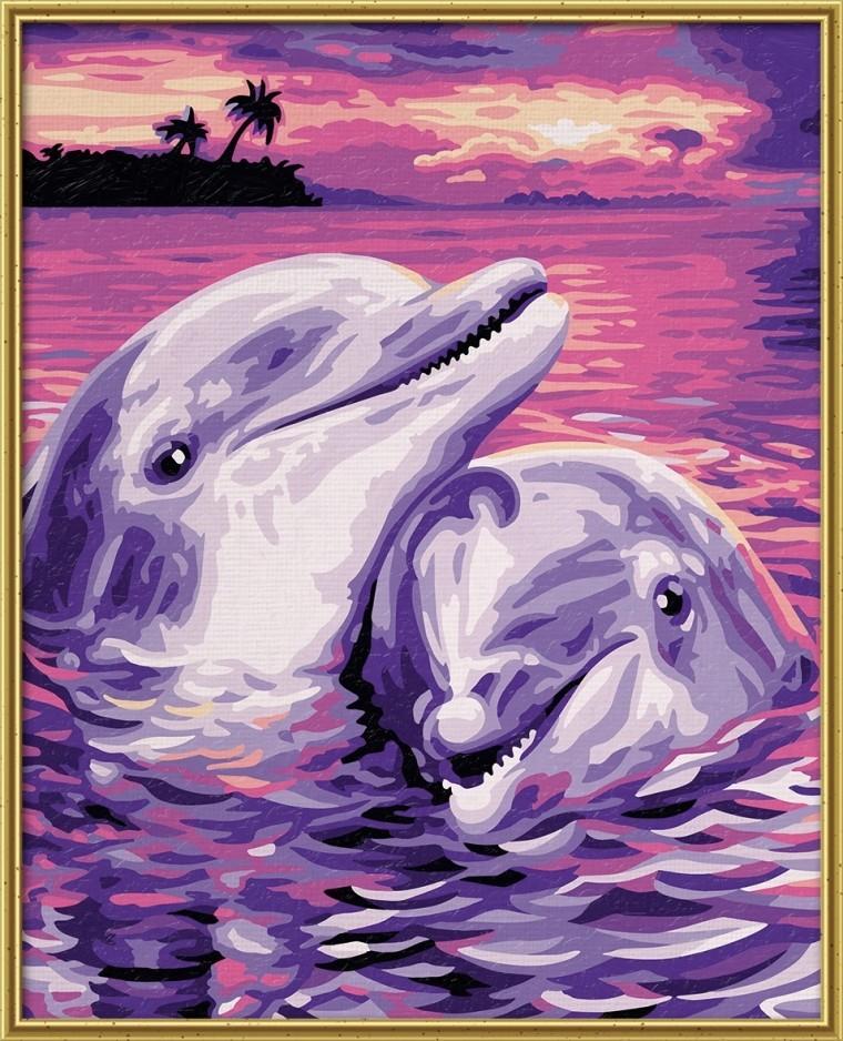 Дельфины 24х30 см.Раскраски по номерам Schipper<br>Дельфины 24х30 см.<br>