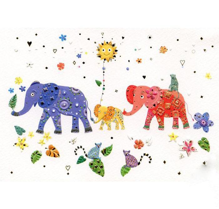 Купить Открытка – Слоны, с конвертом, Turnowsky