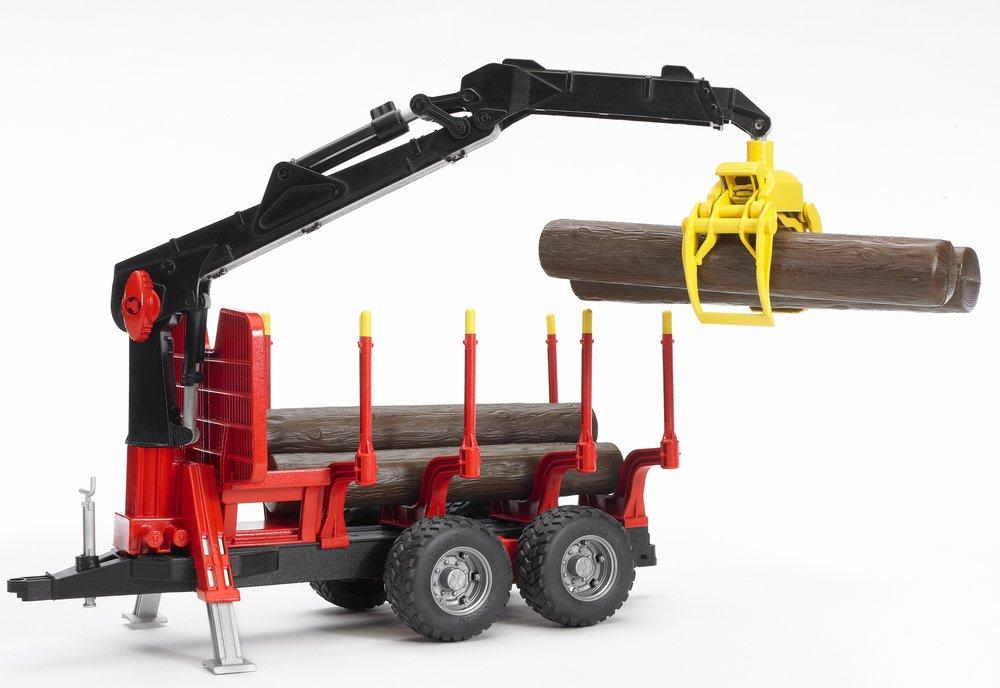 Bruder. Прицеп для перевозки леса с манипулятором и брёвнамиПрицепы, платформы<br>Bruder. Прицеп для перевозки леса с манипулятором и брёвнами<br>