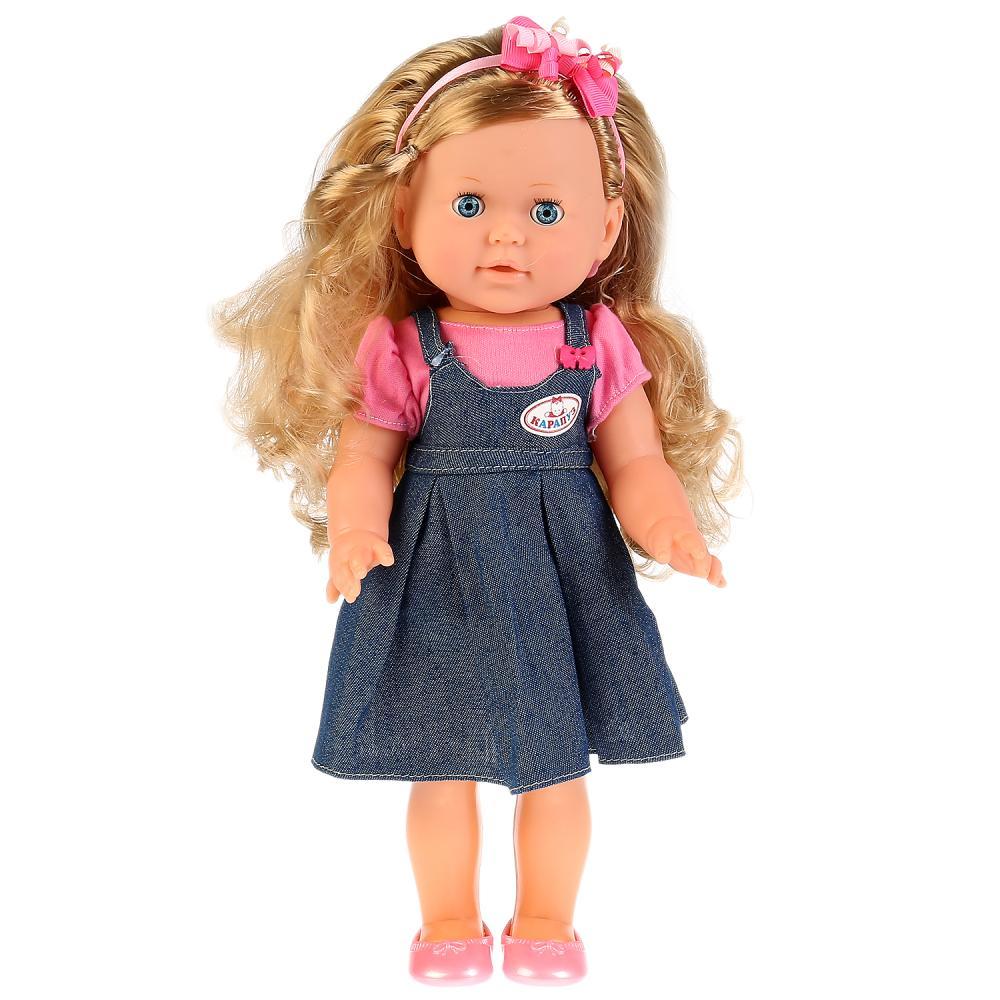 Купить Интерактивная кукла – Дарья в джинсовом сарафане, 35 см, 15 песен на музыку Шаинского, Карапуз