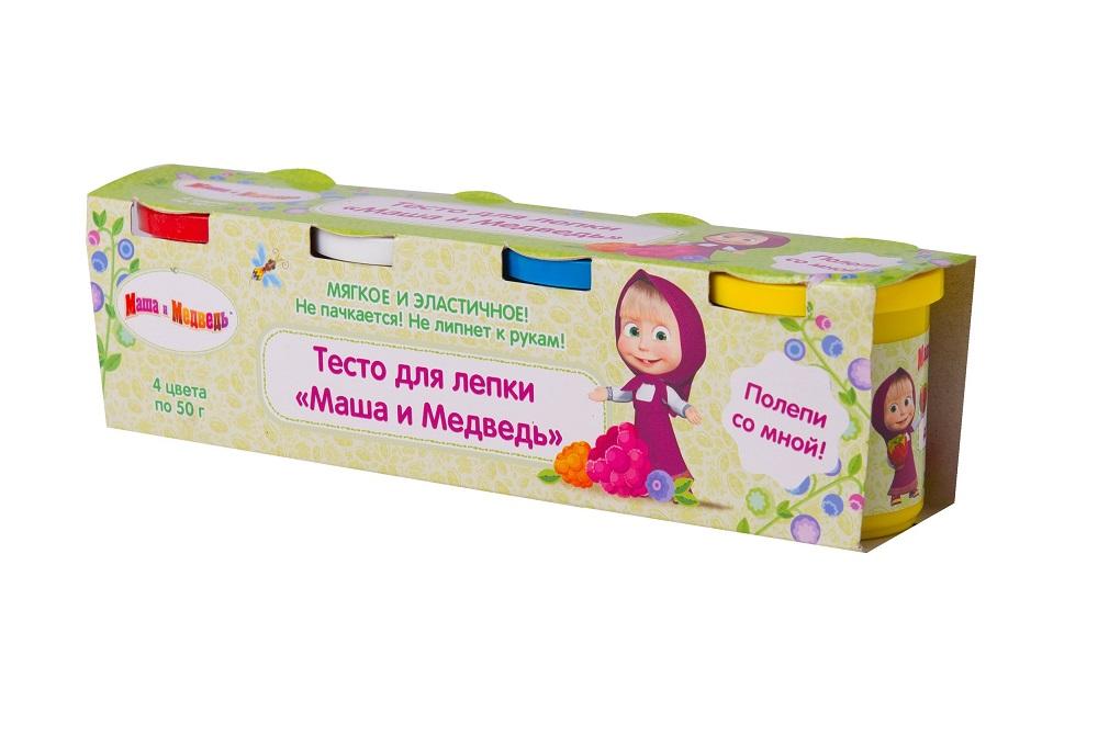 Тесто для лепки - Маша и Медведь, 4 х 50 гМаша и медведь игрушки<br>Тесто для лепки - Маша и Медведь, 4 х 50 г<br>
