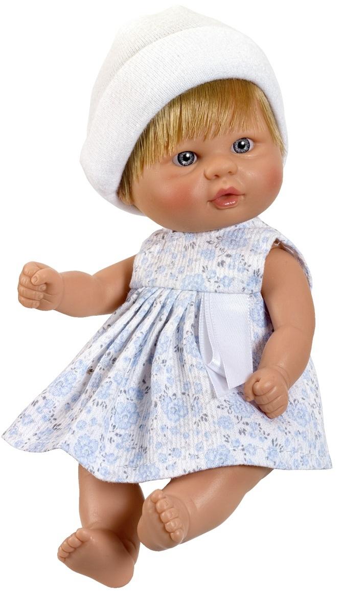 Кукла пупсик в белой шапочке, 20 см.Куклы ASI (Испания)<br>Кукла пупсик в белой шапочке, 20 см.<br>
