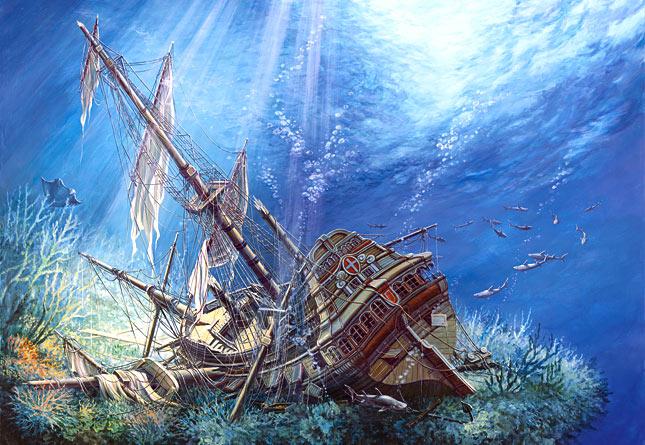 Купить Пазл Затонувший корабль, 2000 элементов, Castorland