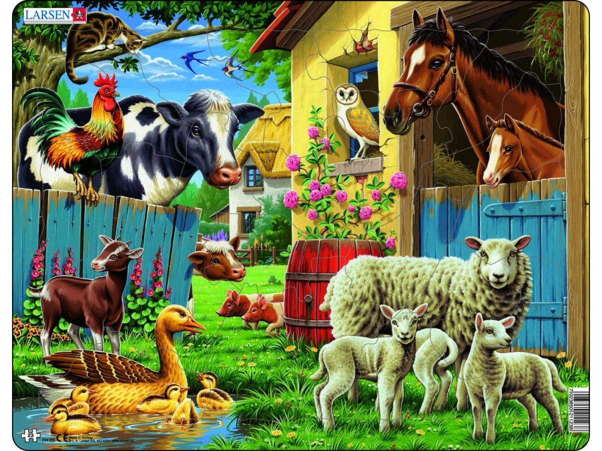 Купить Пазл - Животные фермы, 23 детали, Larsen