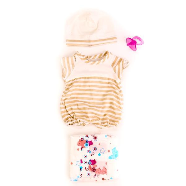 Одежда для кукол с аксессуарами – Шапочка, боди, соска, памперс, коричневыеОдежда для кукол<br>Одежда для кукол с аксессуарами – Шапочка, боди, соска, памперс, коричневые<br>