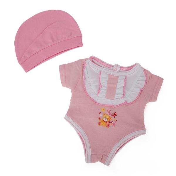 Комплект одежды для куклы Карапуз - Боди с шапочкой, 40-42 см, розовыйОдежда для кукол<br>Комплект одежды для куклы Карапуз - Боди с шапочкой, 40-42 см, розовый<br>