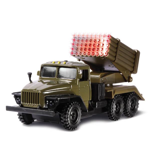 Купить Машина металлическая инерционная Урал Град Военный, открываются двери, Технопарк