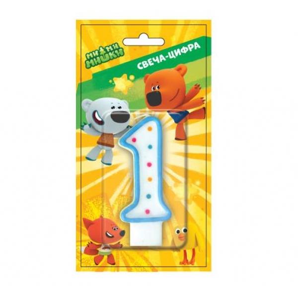 Свеча-цифра 1 - МиМи МишкиСвечи для торта<br>Свеча-цифра 1 - МиМи Мишки<br>