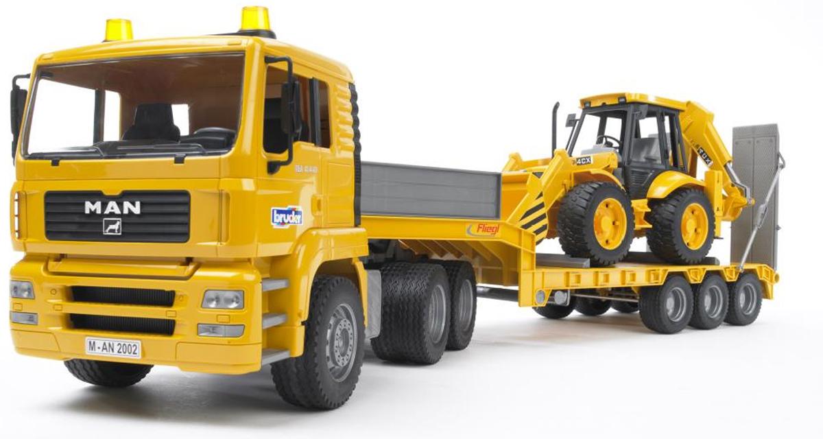Man - прицеп–платформа с колёсным экскаватором–погрузчиком JCB 4CXПрицепы, платформы<br>Набор 2 в 1: Тягач с прицепом и экскаватор от компании Bruder.<br>