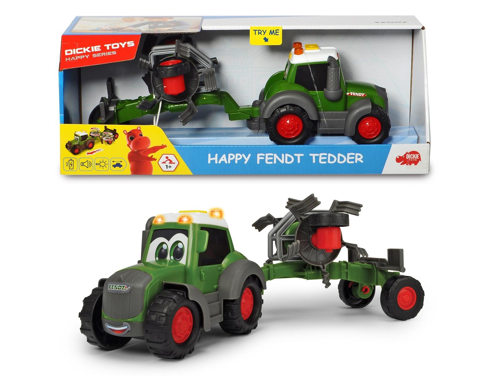 Купить Трактор Happy Fendt с ворошилкой для сена 30 см, свет, звук, Dickie Toys