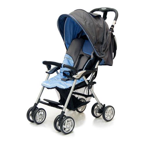 Коляска прогулочная Elegant, Dark Grey/Blue, полоскаДетские коляски Capella Jetem, Baby Care<br>Коляска прогулочная Elegant, Dark Grey/Blue, полоска<br>