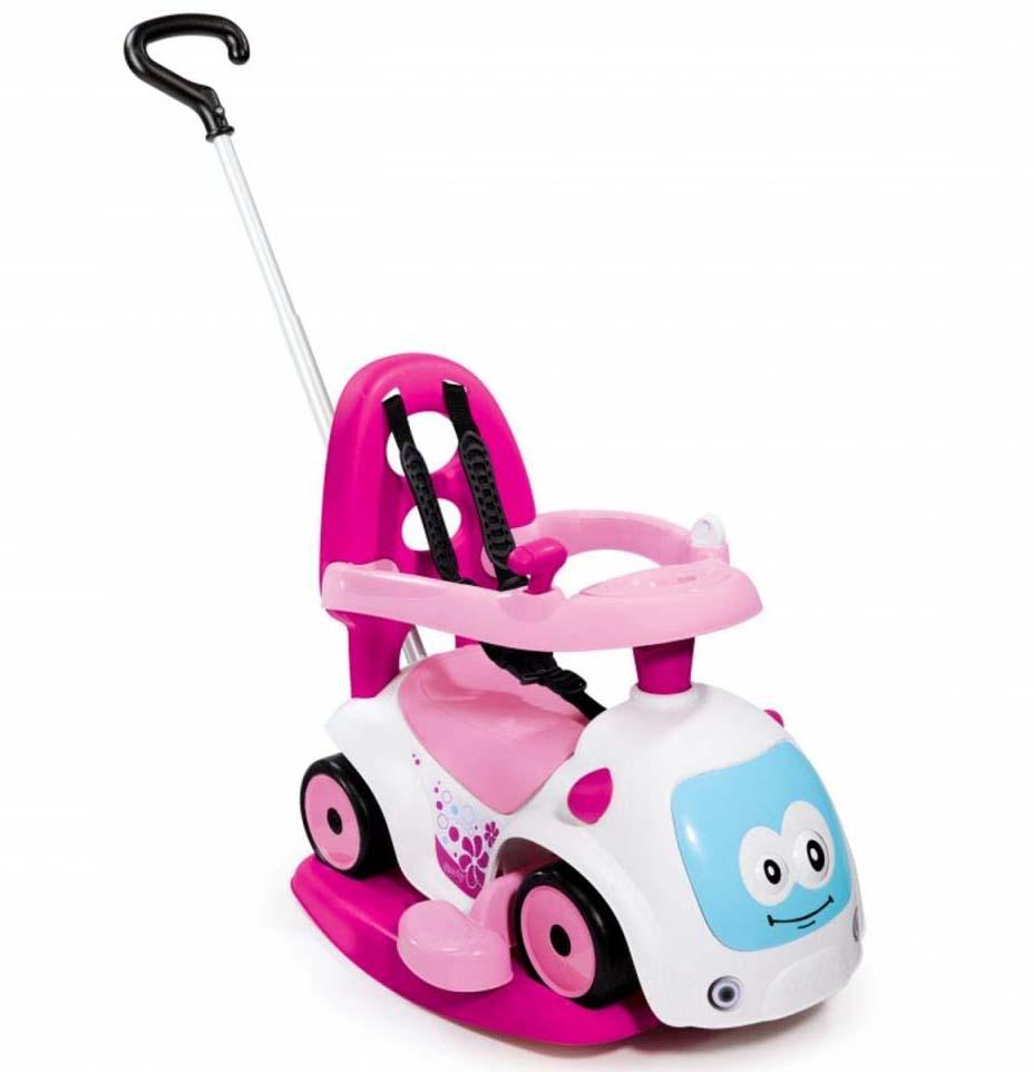 Каталка-качалка трансформер Smoby Maestro 2, белая с розовым, звукМашинки-каталки для детей<br>Каталка-качалка трансформер Smoby Maestro 2, белая с розовым, звук<br>