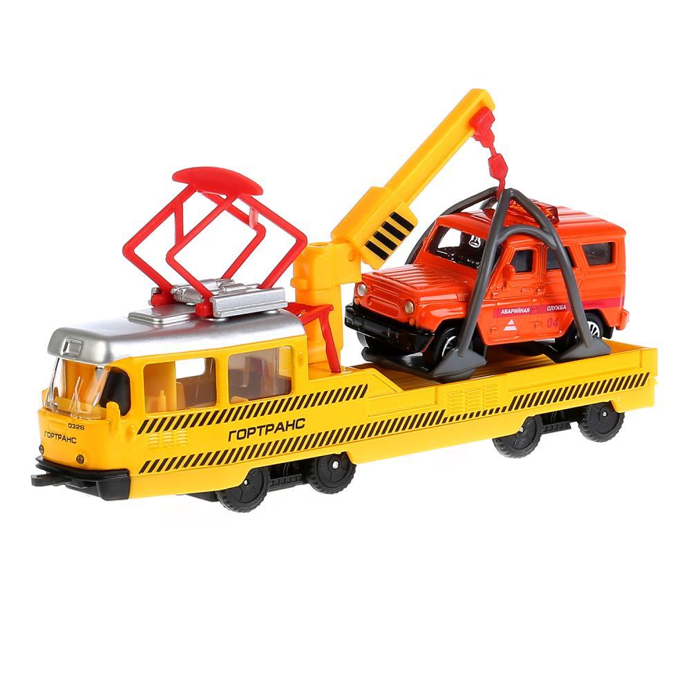 Купить Набор металлических машин ™Технопарк – Ремонтный трамвай 16, 5 см и УАЗ Hunter