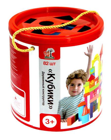 Купить Конструктор деревянный – Кубики, 82 детали, База игрушек