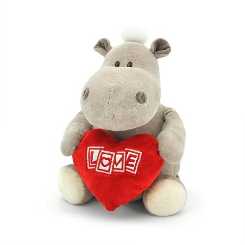Мягкая игрушка – Бегемот-мальчик с сердцемЖивотные<br>Мягкая игрушка – Бегемот-мальчик с сердцем<br>