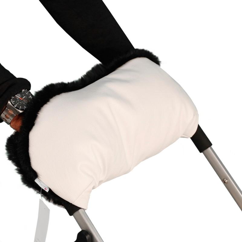 Купить Муфта для рук на коляску, ткань белая/мех черный, Moze
