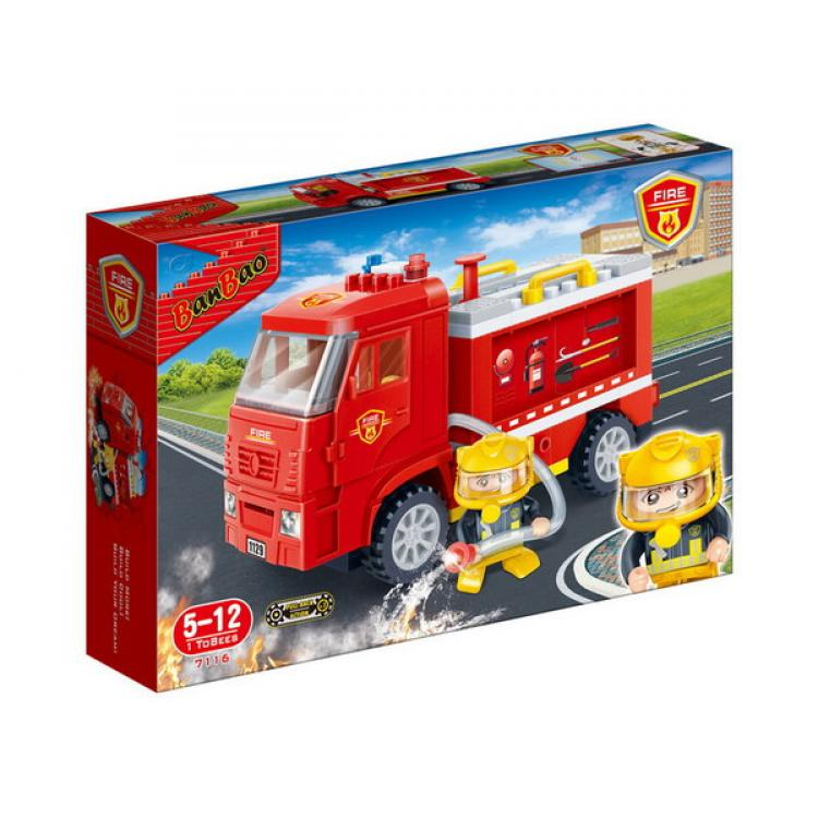 Конструктор – Инерционный пожарный грузовик, 126 деталейКонструкторы BANBAO<br>Конструктор – Инерционный пожарный грузовик, 126 деталей<br>