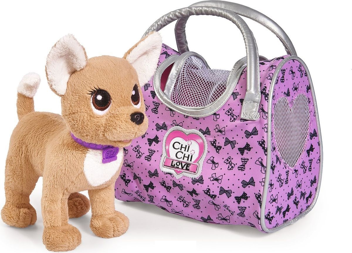 Плюшевая собачка из серии Chi-Chi love  Путешественница, с сумкой-переноской, 20 см. - Chi Chi Love - cобачки в сумочке, артикул: 172209