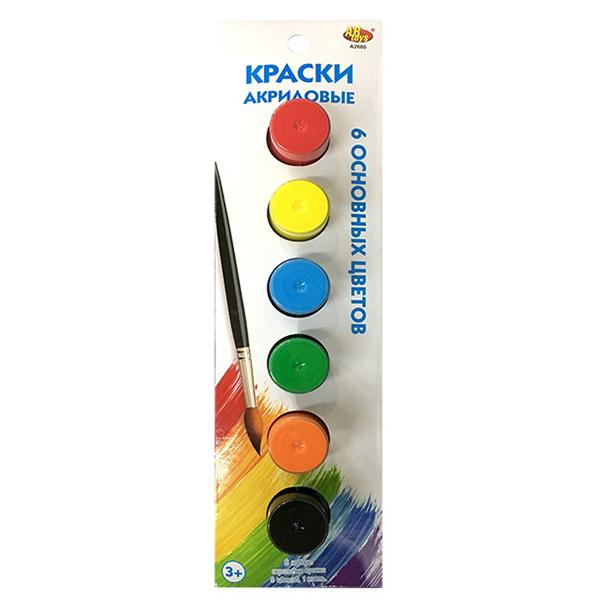 Акриловые краски с кисточкой, 6 цветовКраски<br>Акриловые краски с кисточкой, 6 цветов<br>