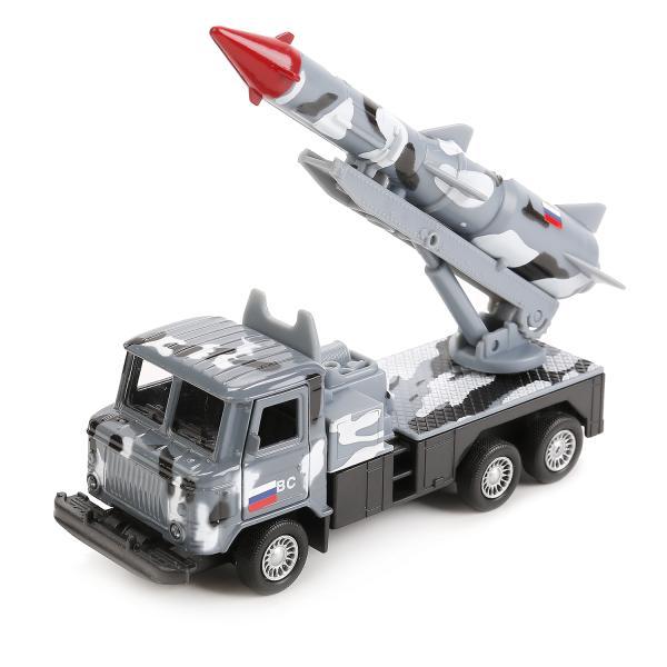 Машина металлическая Газ 66 с подвижной ракетой, цвет - серый камуфляж, инерционная 12 см, открываются двериВоенная техника<br>Машина металлическая Газ 66 с подвижной ракетой, цвет - серый камуфляж, инерционная 12 см, открываются двери<br>