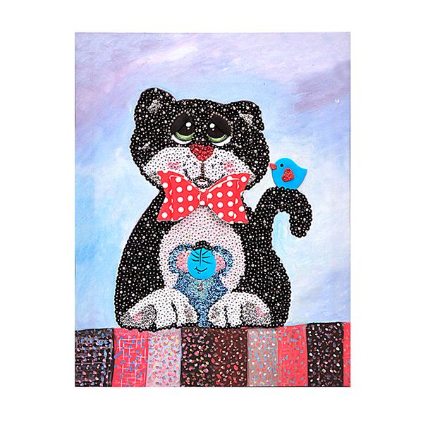 Мозаика из пайеток на холсте - Кошки-мышки фото