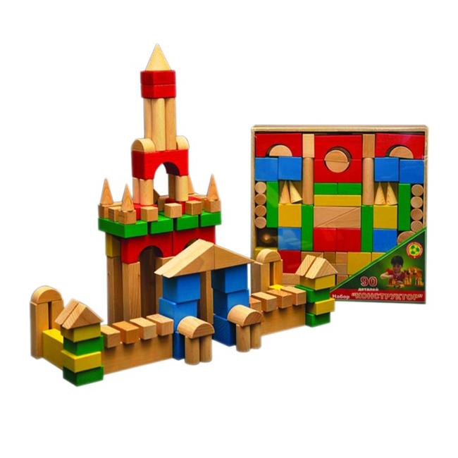 Конструктор деревянный цветной, 90 деталейДеревянный конструктор<br>Конструктор деревянный цветной, 90 деталей<br>