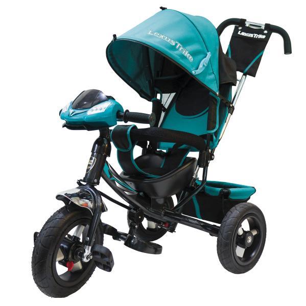 Велосипед 3-колесный Ltsport, с резиновыми надувными колесами 12 и 10 дюймов, регулируемая спинка, светомузыкальная панель, цвет – бирюзово/черныйВелосипеды детские<br>Велосипед 3-колесный Ltsport, с резиновыми надувными колесами 12 и 10 дюймов, регулируемая спинка, светомузыкальная панель, цвет – бирюзово/черный<br>