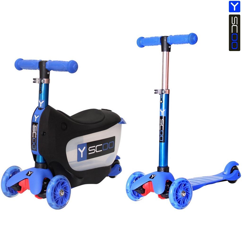 Каталка-самокат 3 в 1 Y-Scoo Mini Jump&amp;Go, темно-синий, со светящимися колесамиТрехколесные самокаты<br>Каталка-самокат 3 в 1 Y-Scoo Mini Jump&amp;Go, темно-синий, со светящимися колесами<br>