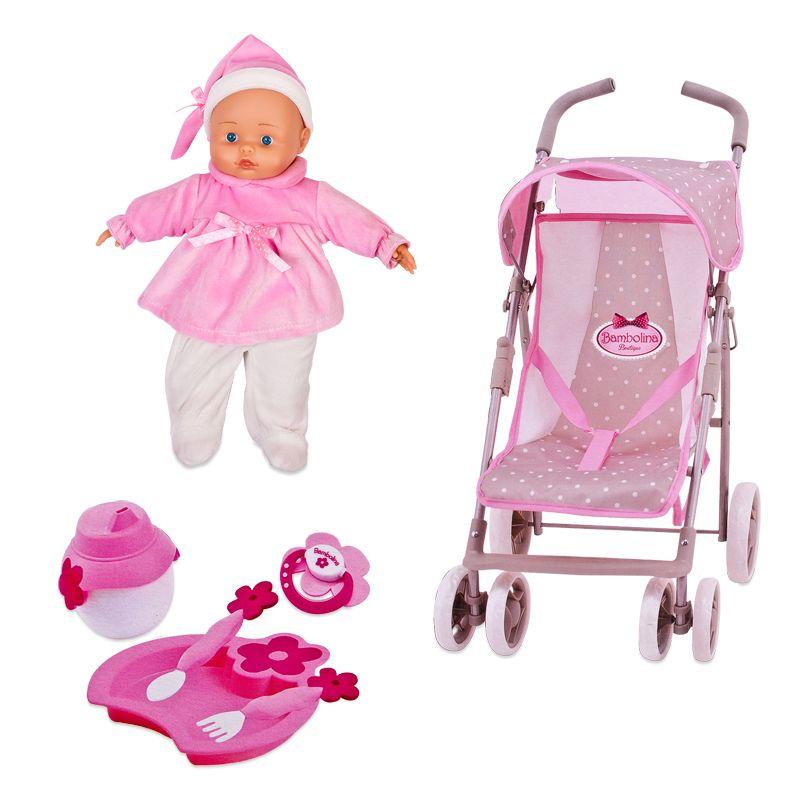 Набор Bambolina Boutique - прогулочная коляска, кукла и набор аксессуаровПупсы<br>Набор Bambolina Boutique - прогулочная коляска, кукла и набор аксессуаров<br>