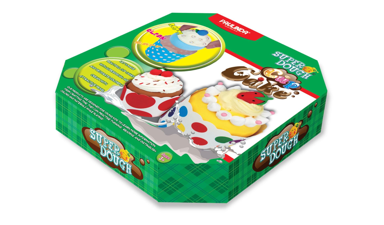 Купить Масса для лепки – Пирожное, масса для лепки 6 цветов, бумажные формочки, клей с блестками, инструменты, Paulinda