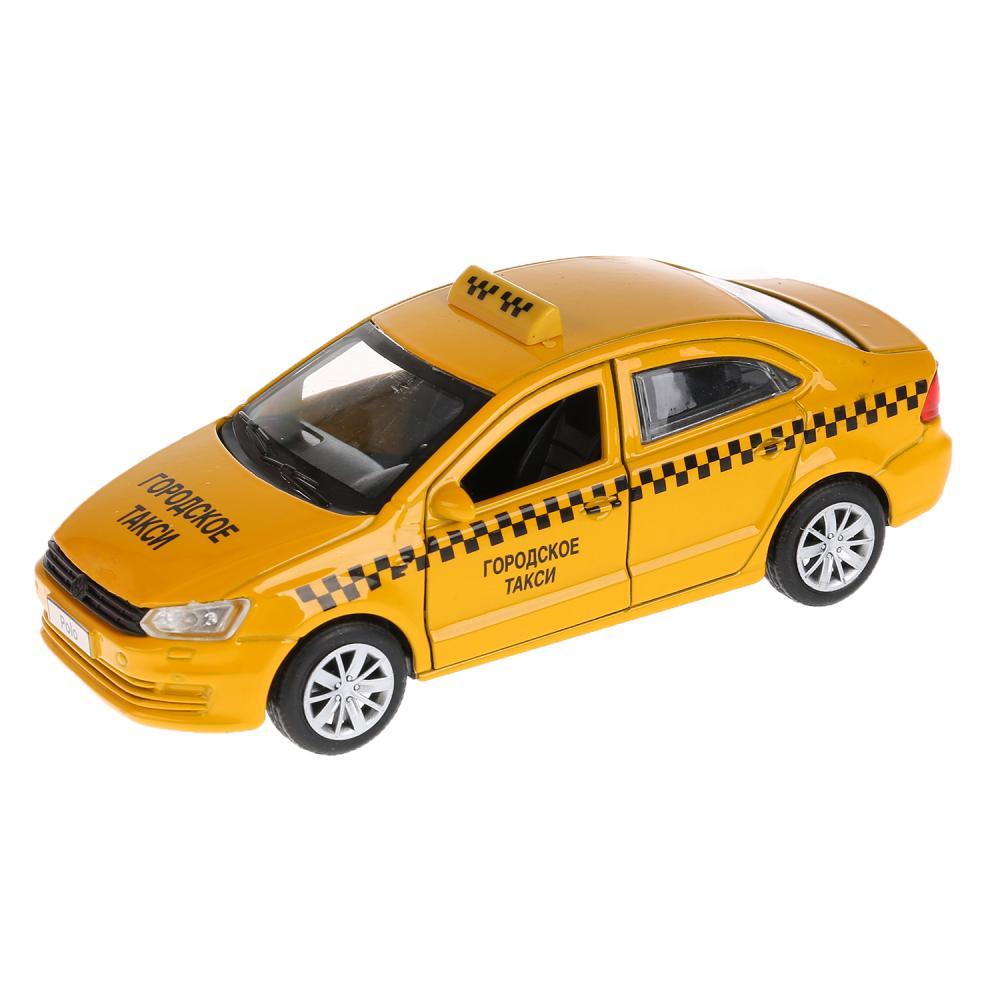 Купить Металлическая инерционная модель – VW Polo Такси, 12 см, Технопарк