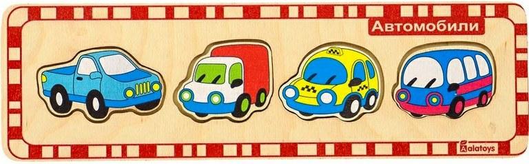 Пазл деревянный для малышей – АвтомобилиРамки и паззлы<br>Пазл деревянный для малышей – Автомобили<br>
