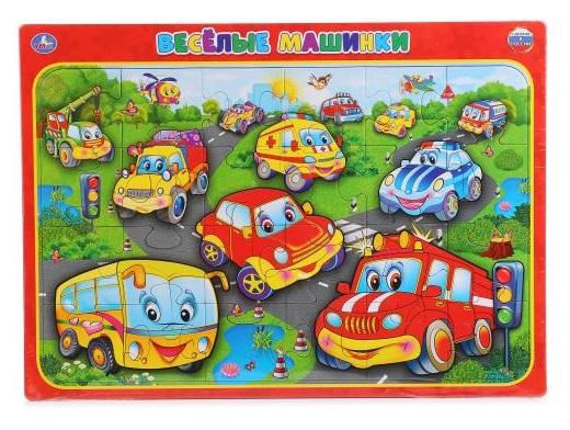 Развивающие пазлы в рамке - Веселые машинкиПазлы для малышей<br>Развивающие пазлы в рамке - Веселые машинки<br>