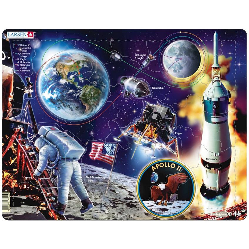 Купить Обучающий пазл - Аполло 11, 50 деталей, Larsen