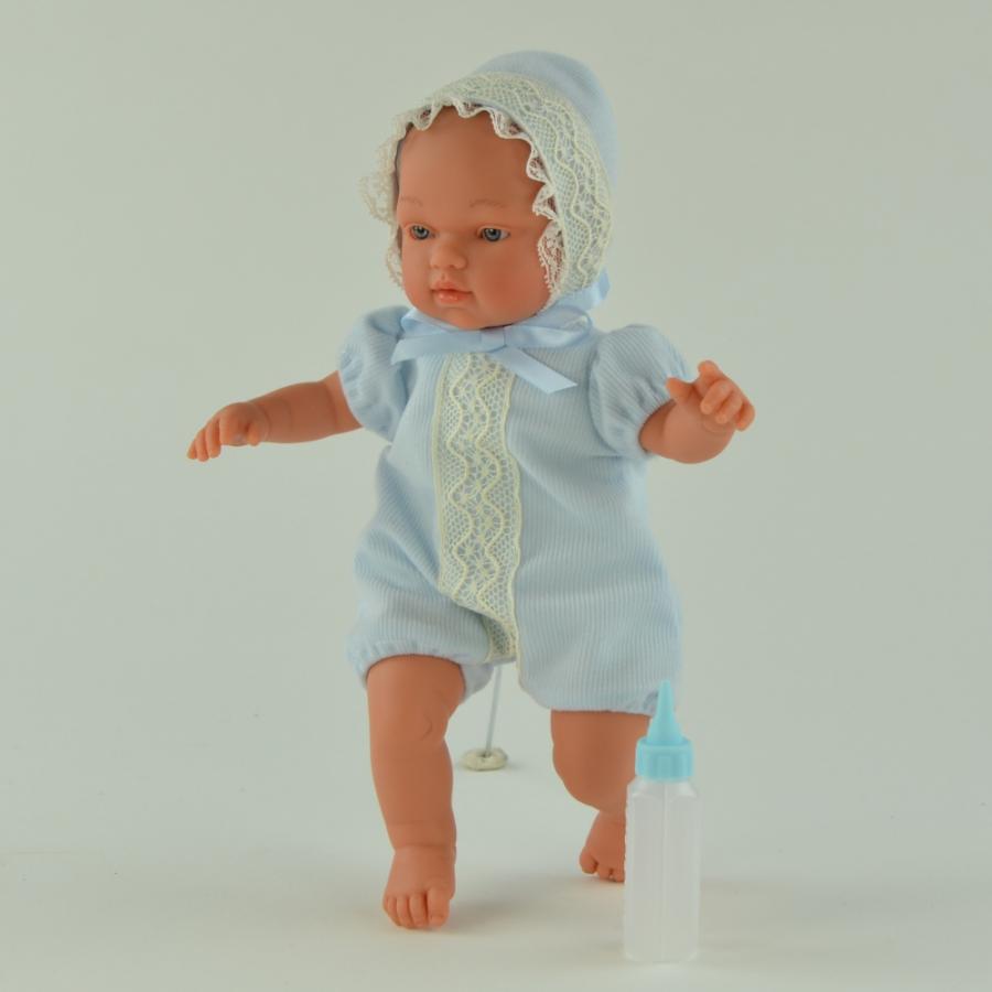 Кукла Гугу в кружевном чепчике, с бутылочкой, 27 см.Куклы ASI (Испания)<br>Кукла Гугу в кружевном чепчике, с бутылочкой, 27 см.<br>