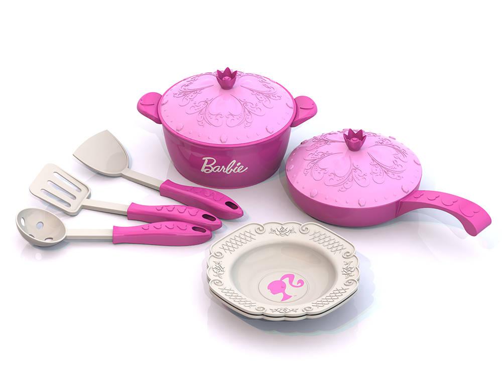 Набор кухонной посудки Barbie - 9 предметов в сеткеАксессуары и техника для детской кухни<br>Набор кухонной посудки Barbie - 9 предметов в сетке<br>