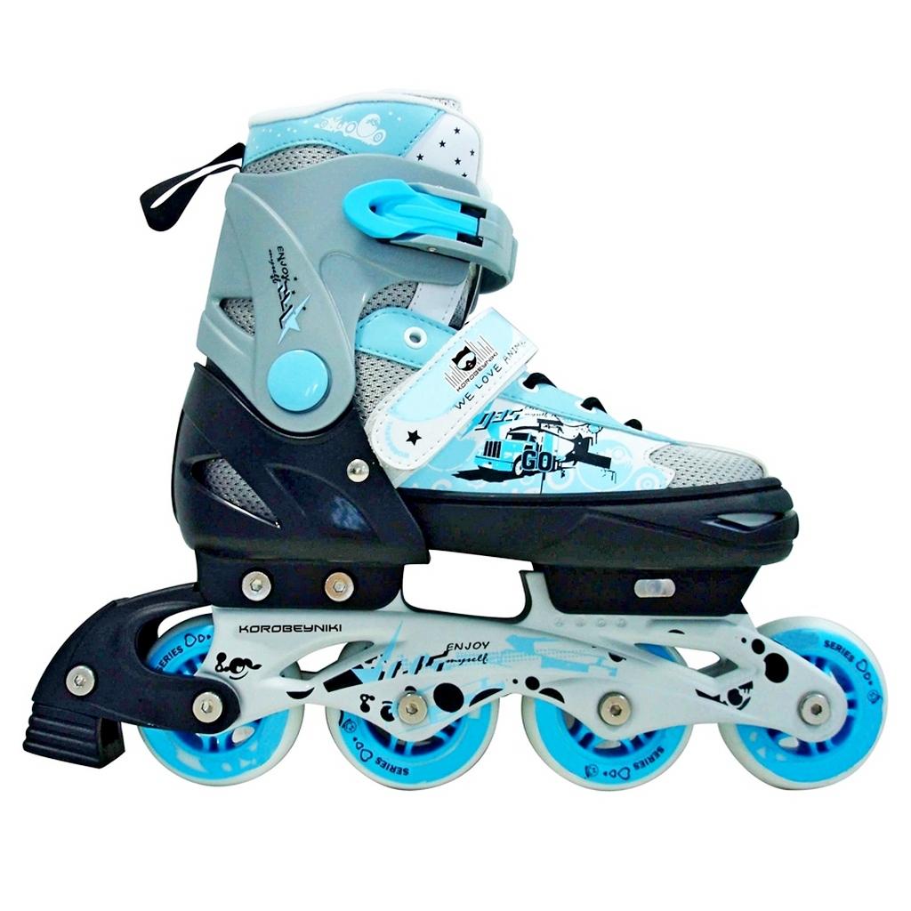 Роликовые коньки PW-151G Коробейники, алюминиевая рама, синие, размер 32-35 - Роликовые коньки детские, артикул: 153255