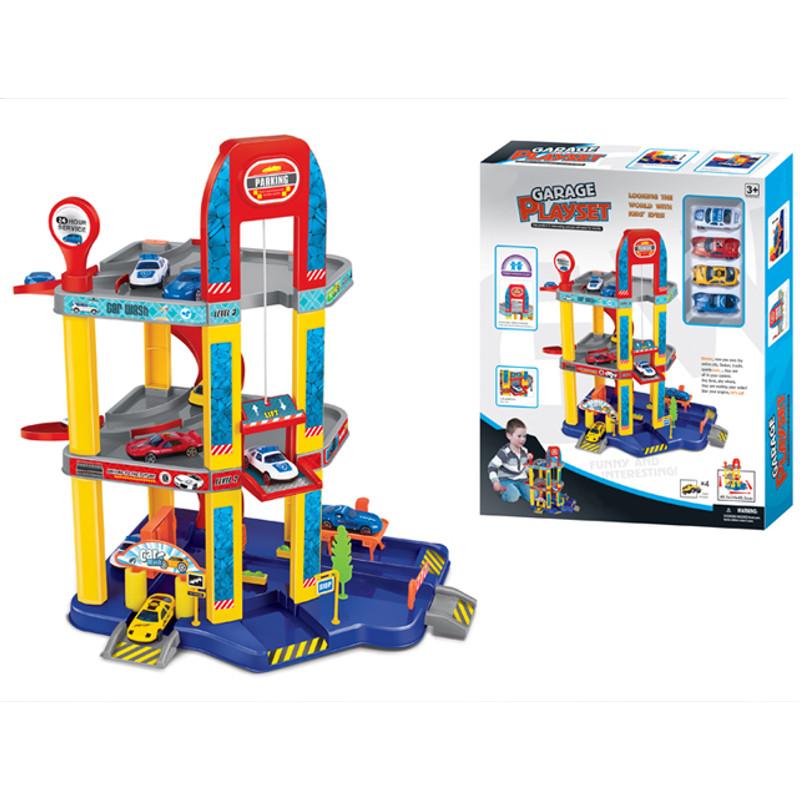 Игровой набор – Трёхуровневый гараж с машинкамиДетские парковки и гаражи<br>Игровой набор – Трёхуровневый гараж с машинками<br>