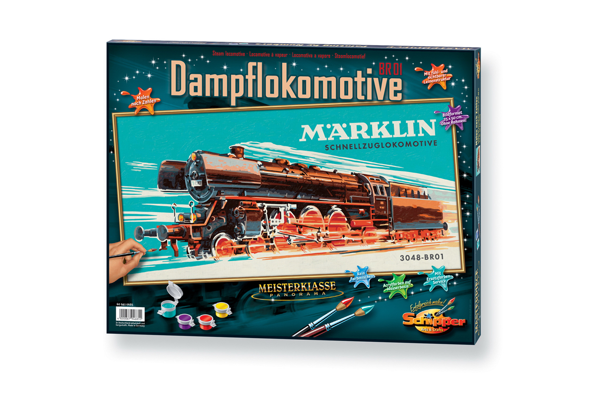 Раскраска по номерам, Marklin – Паровоз 3048 BR01Раскраски по номерам Schipper<br>Раскраска по номерам, Marklin – Паровоз 3048 BR01<br>